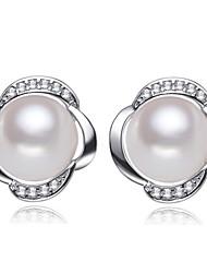 z & x® 925 argenté fleur classique fraîche boucles d'oreilles perles d'eau mariage / fête / jour