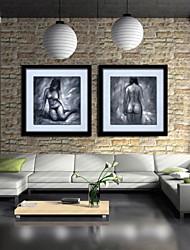 peinture à l'huile décoration main de caractère abstrait toile peinte avec étiré encadrée - ensemble de 2