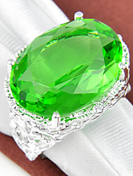 Classic Family Gift Fire Oval Green Quartz Gem 925 Silver Statement Rings For Wedding Party Daily Casual 1pc