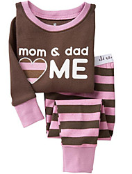 Children Kids Girl Boy Mom & Dad Love Me Stripe 2-7 Years Pajama Sets Clothes