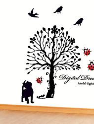 adesivos de parede parede decalques, desenhos animados da árvore gato preto pvc adesivos de parede