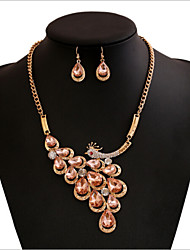 Vintage Style Zinc Alloy Peacock And Rhinestone Jewelery Set(Earrings & Necklace+More Color Available)