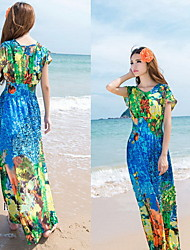 Women's Sexy/Beach/Party Round Short Sleeve Dresses (Chiffon)
