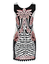 Women's Pop Star Style Sleeveless Mini Print Dress