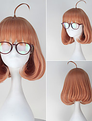 Kyokai no Kanata Mirai Kuriyama Short Curly Pink Color Cosplay Full Wig with Red Glass