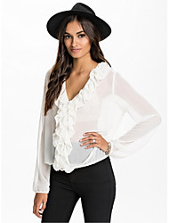 Women's Casual/Daily Simple Summer Blouse,Solid Long Sleeve Thin