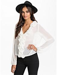 Mulheres Blusa Casual Simples Verão,Sólido Branco Manga Longa Fina