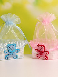 Baby Bear Decorative Basket Shaped Organza Wedding Candy Favor Bags Party Favor Gift Bags  Set of 12