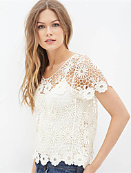 Women's Sexy/Lace Micro-elastic Short Sleeve Regular Blouse (Lace)