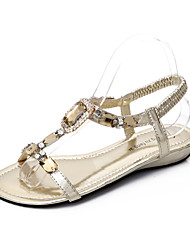 Women's Shoes Leather Flat Heel Peep Toe Sandals Dress With Rhinestone More Colors Available