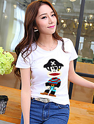 Women's Vintage/Sexy/Beach/Casual/Cute/Party/Work   Short Sleeve Regular T-shirt