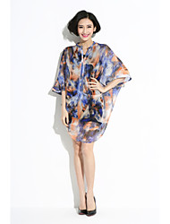 Women's Sexy/Beach/Casual/Print Inelastic ½ Length Sleeve Asymmetrical Dress (Chiffon)901#