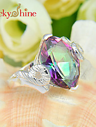 Lucky Shine Women's Men's Unisex Silver Fashion Fire Rainbow Mystic Topaz Crystal Gemstone Wedding Rings