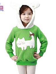 Waboats Winter Girls Cat Printed Velvet Hood Top