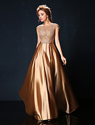 Formal Evening Dress - Ruby / Burgundy / Gold Petite A-line Jewel Floor-length Lace / Charmeuse