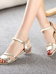 Women's Shoes Chunky Heel/Open Toe/Ankle Strap/Slingback/Sandals Dress Gold/Silver