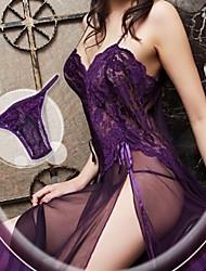 Damen Babydoll & slips / Dessous / Passende Bralettes / Roben / Besonders sexy / Teddy / Anzüge Nachtwäsche einfarbig-Spitze / NylonLila