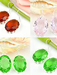 superbe cadeau ovales rose topaze quartz citrine du Brésil précieuses argent 925 boucles d'oreilles pour la noce quotidiennes 1pairs de