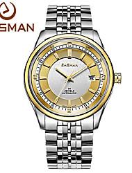 easman homens de design relógios de marca forma redonda de aço inoxidável relógio de pulso de ouro automático de auto-liquidação mecânica