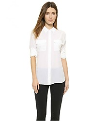 New Summer Women Tops Pockets Turn-down Collar Brief Casual White Chiffon Blouses Slim Office Lady Shirt