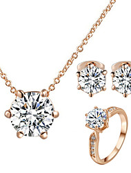 T&C Women's Concise 18K Rose Gold Plated with 6 Prongs Simulated Diamond Stone Pendant Necklace Earrings Ring Set