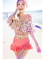 Women's Sweet Charming Tankini with Floral Crop Top