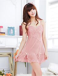 Damen Roben Besonders sexy Nachtwäsche einfarbig Organza Rosa