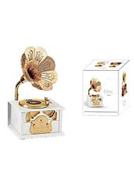 Kafka Retro Plastic Hand Crank Phonograph Gramophone Mechanical Music Box Presents