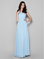 Sheath / Column Scoop Neck Floor Length Chiffon Bridesmaid Dress with Draping by LAN TING BRIDE®