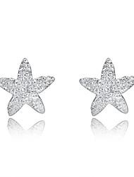 Jazlyn autentico platinato Argento 925 sordo stella lucido prigioniera