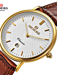 Men's Dress Watch Quartz Japanese Quartz Leather Band Black Brown