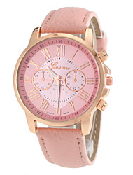 Women's Round Gold Case Roman Number Dial PU Band Analog Quartz Wrist Watch (Assorted Colors)