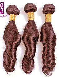"""3pcs / lot 12 """"-30"""" brasilianisches reines Haar schokoladenbraun Ocean Wave Echthaar Haarverlängerungen Haar spinnt"""