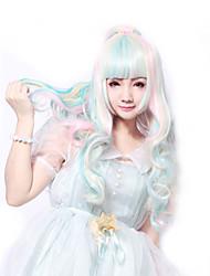 68 cm harajuku lolita perruque volle Lockenperücke anime rainbow ombre cosplay Perücken lange synthetische Perücken 2 Clips 0.6kg