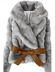 Abrigo/Top Mujer - Piel de Conejo/Piel Sintética Cinturón Incluido