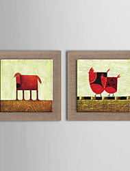 Oil Painting Modern Abstract Animal Hand Painted Natural Linen with Stretched Framed - Set of 2
