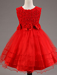 A-line Knee-length Flower Girl Dress - Lace / Satin / Tulle / Sequined / Polyester Sleeveless Jewel with