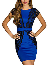 Women's Crew Neck Lace Patchwork Crochet Backless Tunic Clubwear Bandage Dress