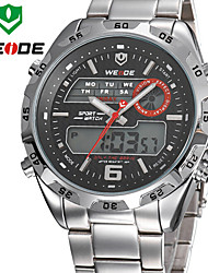 WEIDE Men Analog & Digital LCD Display Multi-functional Full Stainless Steel Quartz Watch
