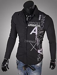 Masculino Camisa Casual Estampado Manga Comprida Outros Preto / Azul / Vermelho / Branco