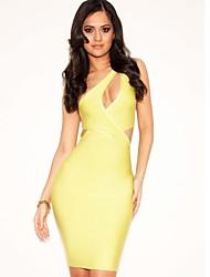Women Cocktail Evening Party Dress Sheath/Column One Shoulder Short/Mini Nylon Taffeta Printing Celeb Bandage Dress