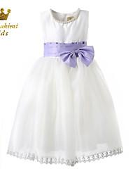 Girl White Short Sleeveless Ceremony Flower Girl Dress