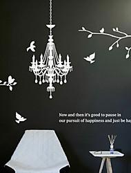 pegatinas de pared Adhesivos de pared, modernas las araña de cristal de la lámpara de rama pegatinas de pared de pvc pájaro