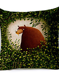Cartoon Bear in Forest Patterned Cotton/Linen Decorative Pillow Cover