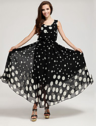 De las mujeres Tallas Grandes Vestido Casual A Lunares Maxi Raso