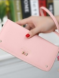 Genuine New Korean Version of The Lovely Ladies Diamond Bow Pendant Handle Long Wallet Wallet Zipper Bag