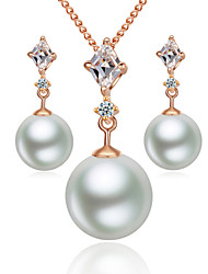HKTC Noble 18k Rose Gold Plated with Crystal Simulated Pearl Waterdrop Pendant Necklace and Earrings Set