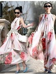 Robes ( Mousseline ) Bodycon/Informel/Soirée Rond à Sans manche pour Femme