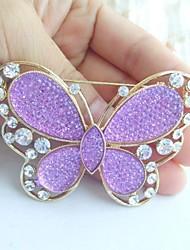 Women Accessories Gold-tone Lavender Rhinestone Crystal Brooch Art Deco Butterfly Brooch Bouquet Women Jewelry
