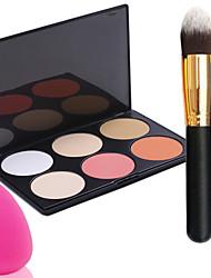 pro partido 6 cores enfrentar bronzeadores paleta de maquiagem em pó + escova do pó + esponja de pó